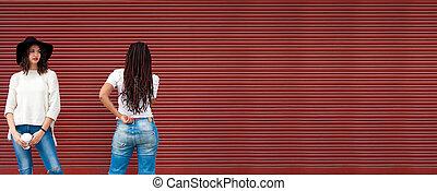 ブラインド, 都市, ファッション, 女の子, 若い, 背景