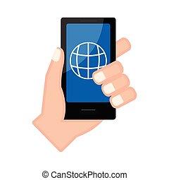 ブラウザ, app, smartphone, 手を持つ