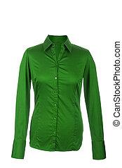 ブラウス, 女性, 隔離された, 長い間, くぼみ, 緑の背景, 白, 袖
