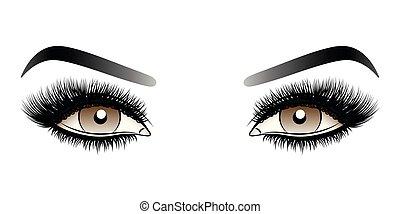 ブラウンの 目, 女, 虚偽である, 激しく打つ, 長い間, eyebrows.