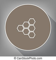 ブラウン, のように, アイコン, 灰色, 上, 白, postament., 長い間, 輪郭, バックグラウンド。, 円, vector., 影, ハチの巣, 印。, 光景