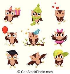 ブラウン, わずかしか, かわいい, セット, 状態, 特徴, owlets, イラスト, 鳥, ベクトル, 背景, 白, 美しい, 漫画, 別