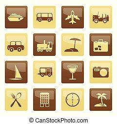 ブラウン, アイコン, 上に, 旅行, 背景, 休日, 観光事業, 交通機関