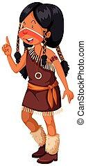 ブラウン, アメリカインディアン, 衣装, 女の子, ネイティブ