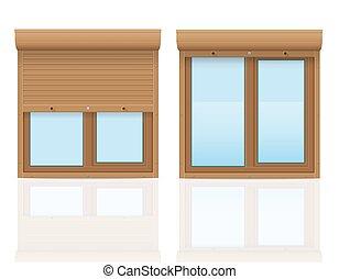 ブラウン, イラスト, プラスチック, 窓, ベクトル, 回転, シャッター