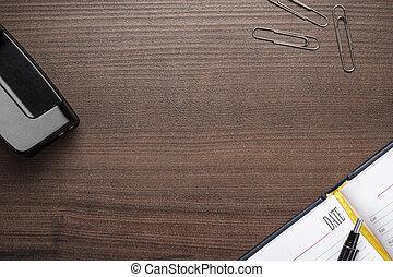 ブラウン, オフィス, 木製である, いくつか, オブジェクト, テーブル