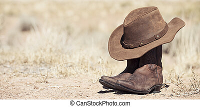ブラウン, カウボーイ帽子, そして, ブーツ, 屋外