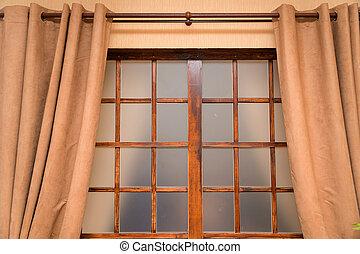 ブラウン, カーテン, 窓, 客間