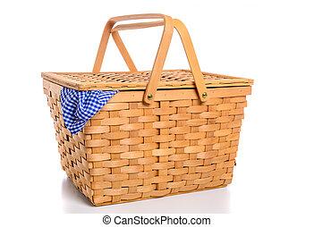 ブラウン, ギンガム, ピクニック, 枝編み細工, 布, 背景, バスケット, 白