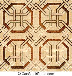 ブラウン, グランジ, 鎖, 幾何学, フレーム, seamless, 手ざわり, 交差点, 水彩画, レトロ, 背景, 八角形