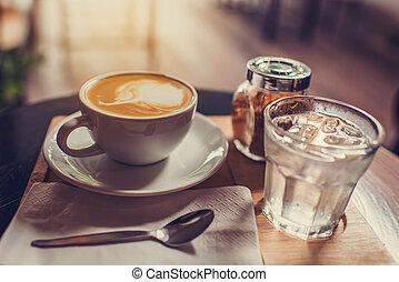 ブラウン, コーヒー セット, 木製である, 砂糖, 水 ガラス, 大袈裟な表情をしなさい, board.