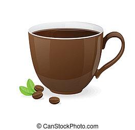 ブラウン, コーヒー, ベクトル, カップ