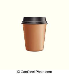ブラウン, コーヒー, ベクトル, mockup, -, カップ, lid., イラスト, プラスチック, ペーパー, 現実的, 大袈裟な表情をしなさい, 技能, 黒, ブランク, 3d