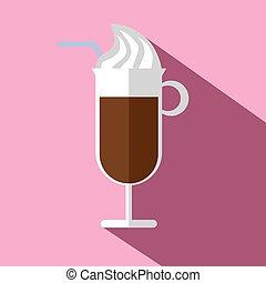 ブラウン, コーヒー, 暑い, 氷, ガラス