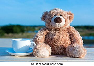 ブラウン, コーヒー, 熊, 朝, ガラス, 人形