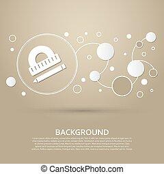 ブラウン, スタイル, infographic., 現代, 定規, 優雅である, ペン, ベクトル, デザイン, 分度器, 背景, アイコン