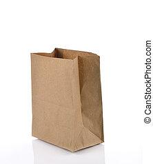 ブラウン, スペース, 隔離された, 昼食, バックグラウンド。, 紙袋, 白, コピー