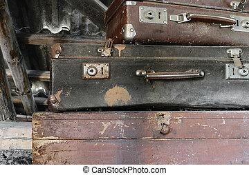 ブラウン, スーツケース, ほこりまみれである, 2, 錆ついた, 胸, 汚い, 古い, あること