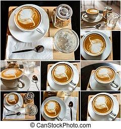 ブラウン, セット, コーヒー, 砂糖, 大袈裟な表情をしなさい