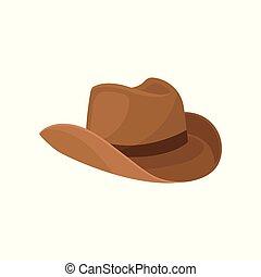 ブラウン, ファッション, カウボーイ, 広いbrimmed, 男性, theme., 平ら, 要素, costume., ベクトル, デザイン, hat., 流行, headwear.