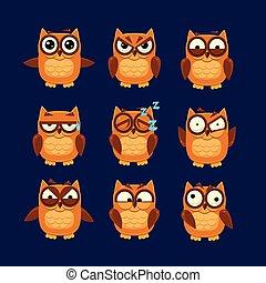 ブラウン, フクロウ, コレクション, emoji