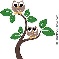 ブラウン, フクロウ, 木, 2