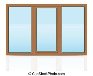 ブラウン, ベクトル, プラスチック, 窓, illustrati, 屋外で, 透明, 光景