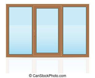 ブラウン, ベクトル, illustratio, 窓, 屋内, プラスチック, 透明, 光景