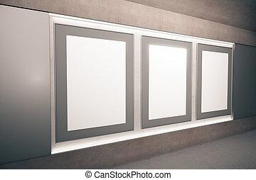 ブラウン, ホール, render, 映像, 壁, の上, 空, ブランク, フレーム, mock, 3d