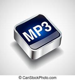 ブラウン, ボタン, ラウンド, ベクトル, mp3 ファイル, ダウンロード, shadow., アイコン