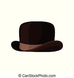 ブラウン, ボーリング競技者, 平ら, 型, headwear., 男性, 隔離された, 優雅である, ベクトル, accessory., hat., 流行, マレ, アイコン