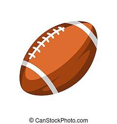 ブラウン, ボール, ラグビー, illustration.