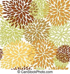 ブラウン, ライト, seamless, 緑, ベージュ, パターン, 花, colors.