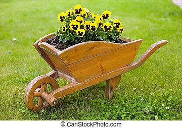 ブラウン, 一輪手押し車, ∥で∥, 黄色の花