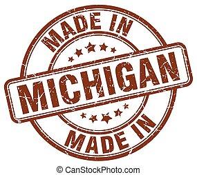 ブラウン, 作られた, グランジ, 切手, ミシガン州, ラウンド
