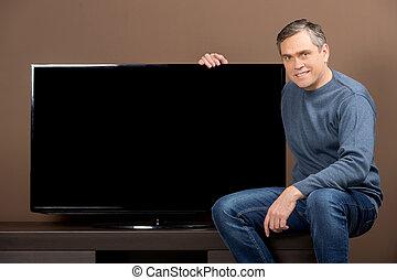 ブラウン, 保有物, より古い, tv, set., モデル, グレーの髪, 背景, 人, 人