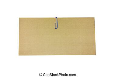 ブラウン, 切り抜き, クリップ, 白い封筒, 隔離された, 青, ペーパー, path., 背景