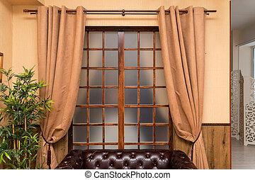 ブラウン, 前部, カーテン, 窓, 部屋