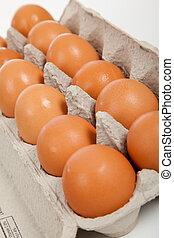 ブラウン, 卵, カートン, そっくりそのまま