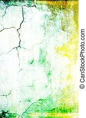 ブラウン, 古い, ぼろぼろ, 抽象的, パターン, 黄色, 背景, textured, 緑, 白, wall:, 背景