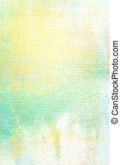 ブラウン, 古い, ぼろぼろ, canvas:, 抽象的, textured, 黄色, パターン, 背景, 白, 緑, 背景