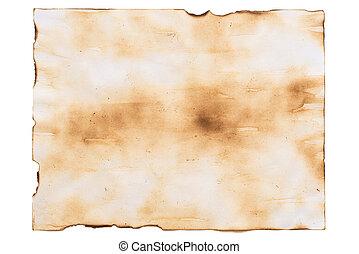 ブラウン, 古い, 型, 隔離された, 手ざわり, バックグラウンド。, ペーパー, 白