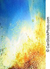 ブラウン, 古い, 青, 抽象的, ぼろを着ている, パターン, 黄色, 背景, textured, 白, wall:, 背景