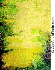 ブラウン, 古い, 青, 抽象的, 黄色, パターン, paper:, 背景, textured, 緑, 背景
