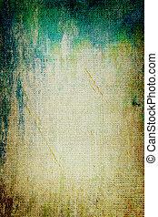 ブラウン, 古い, 青, canvas:, 抽象的, 黄色, パターン, 背景, textured, 緑, 背景