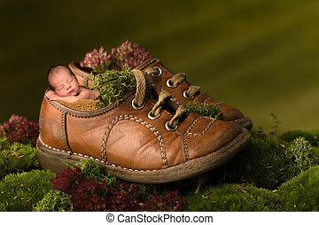 ブラウン, 古い, 靴, 睡眠, 生まれたての赤ん坊