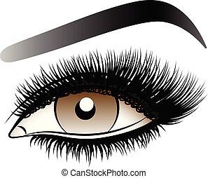 ブラウン, 女, 虚偽である, 激しく打つ, 長い間, 目, eyebrows.