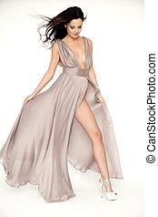 ブラウン, 女, backgroun, ほっそりしている, 若い, isolaten, セクシー, 白いドレス
