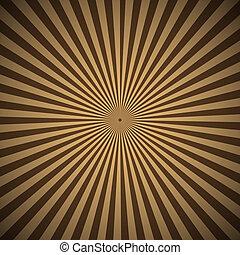 ブラウン, 抽象的, 光線, 背景, 放射状