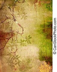 ブラウン, 抽象的, 黄色, パターン, 緑の背景, textured, 花, 背景
